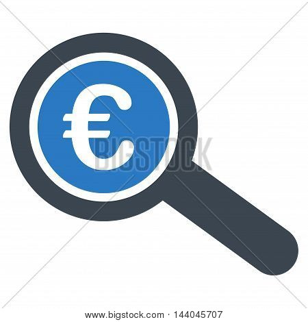 Euro Financial Audit icon. Glyph style is bicolor flat iconic symbol, smooth blue colors, white background.