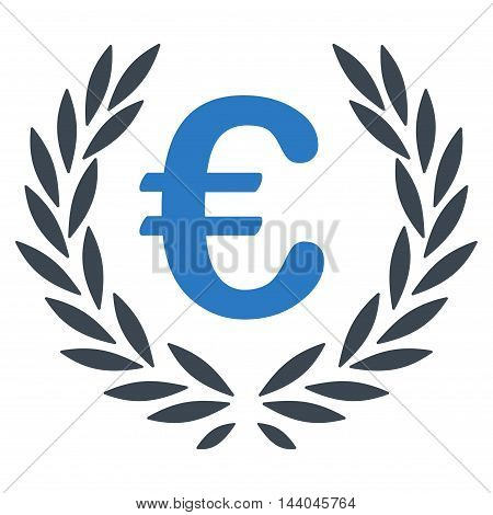 Euro Laurel Wreath icon. Glyph style is bicolor flat iconic symbol, smooth blue colors, white background.