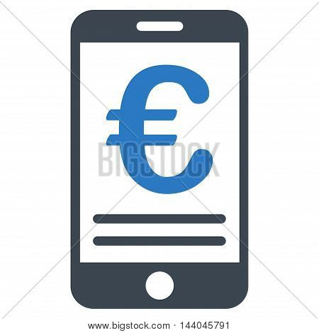 Euro Mobile Banking icon. Glyph style is bicolor flat iconic symbol, smooth blue colors, white background.