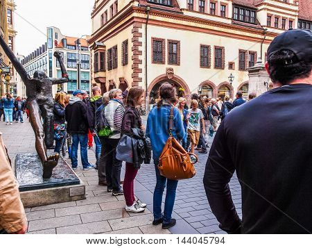 Tourists In Leipzig Germany (hdr)