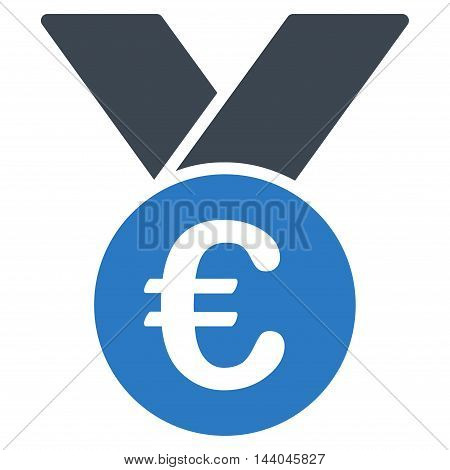 Euro Prize Medal icon. Glyph style is bicolor flat iconic symbol, smooth blue colors, white background.