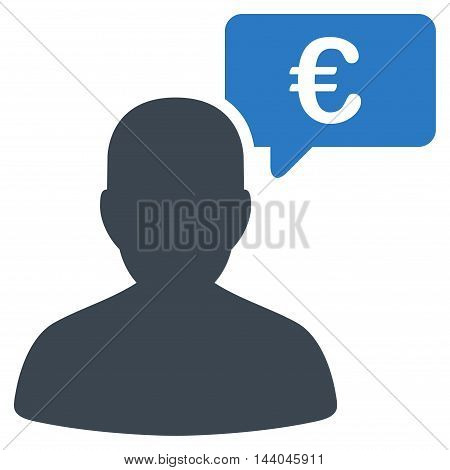 Euro User Opinion icon. Glyph style is bicolor flat iconic symbol, smooth blue colors, white background.