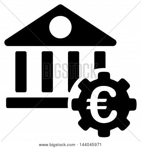 Euro Bank Building Options icon. Glyph style is flat iconic symbol, black color, white background.