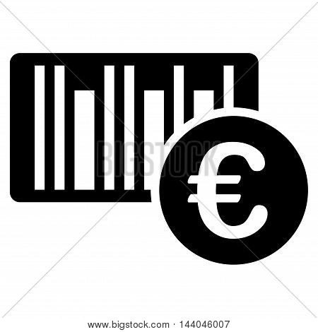 Euro Bar Code Price icon. Glyph style is flat iconic symbol, black color, white background.