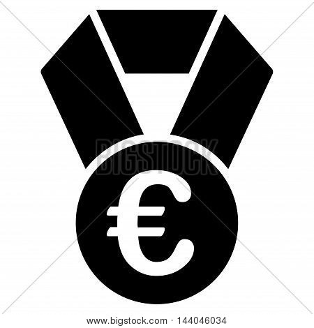 Euro Champion Medal icon. Glyph style is flat iconic symbol, black color, white background.