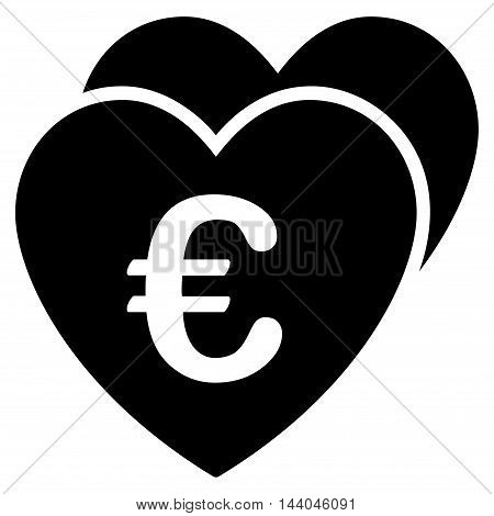 Euro Favorites Hearts icon. Glyph style is flat iconic symbol, black color, white background.