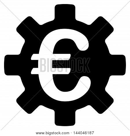 Euro Machinery Gear icon. Glyph style is flat iconic symbol, black color, white background.