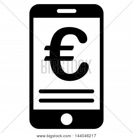Euro Mobile Banking icon. Glyph style is flat iconic symbol, black color, white background.