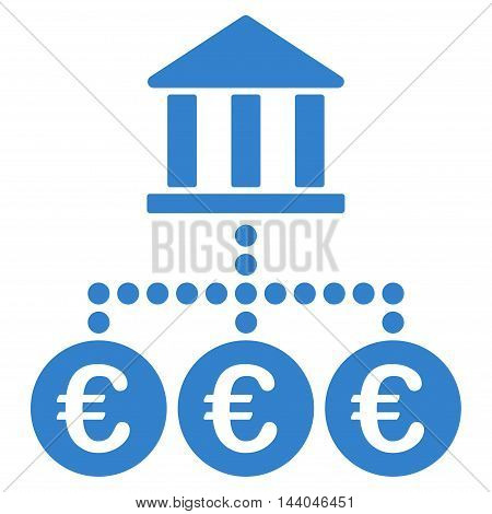 Euro Bank Transactions icon. Glyph style is flat iconic symbol, cobalt color, white background.