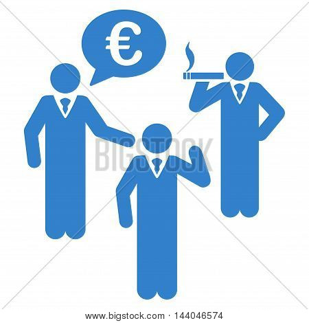 Euro Discuss People icon. Glyph style is flat iconic symbol, cobalt color, white background.