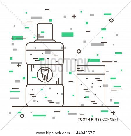 Dental Tooth Rinse Linear Vector Illustration