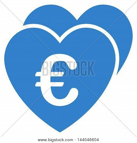 Euro Favorites Hearts icon. Glyph style is flat iconic symbol, cobalt color, white background.