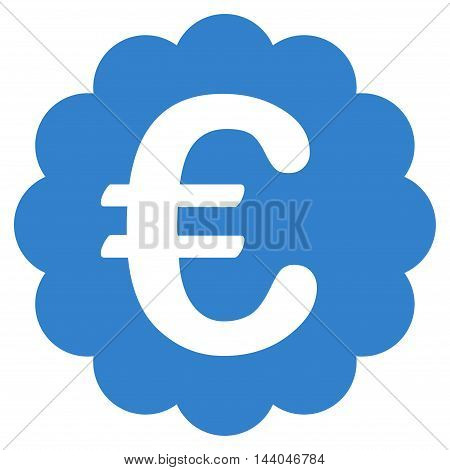 Euro Quality Seal icon. Glyph style is flat iconic symbol, cobalt color, white background.