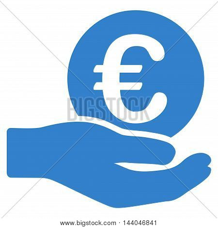 Euro Salary icon. Glyph style is flat iconic symbol, cobalt color, white background.