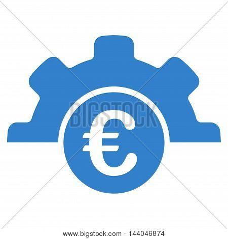 Euro Technology icon. Glyph style is flat iconic symbol, cobalt color, white background.