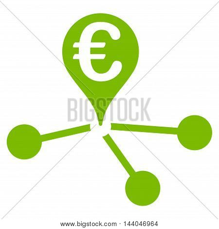Euro Bank Branches icon. Glyph style is flat iconic symbol, eco green color, white background.