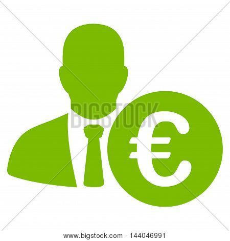 Euro Banker icon. Glyph style is flat iconic symbol, eco green color, white background.