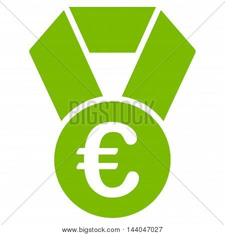 Euro Champion Medal icon. Glyph style is flat iconic symbol, eco green color, white background.