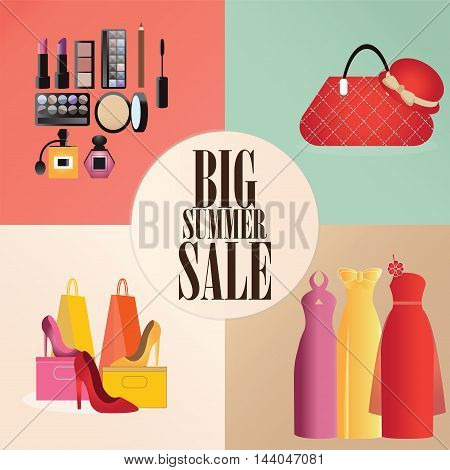 Discount big summer sale set with clothes bagshoes and Makeup shopping design concept flat icons vector illustration.