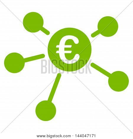 Euro Links icon. Glyph style is flat iconic symbol, eco green color, white background.