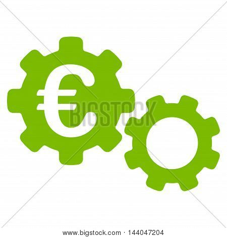 Euro Mechanics icon. Glyph style is flat iconic symbol, eco green color, white background.