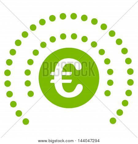 Euro Shield Sphere icon. Glyph style is flat iconic symbol, eco green color, white background.