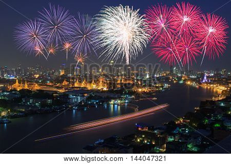 Grand palace and Bangkok City with Colorful Fireworks Thailand