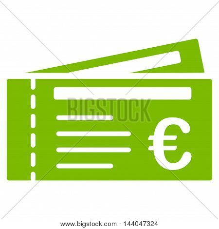 Euro Tickets icon. Glyph style is flat iconic symbol, eco green color, white background.