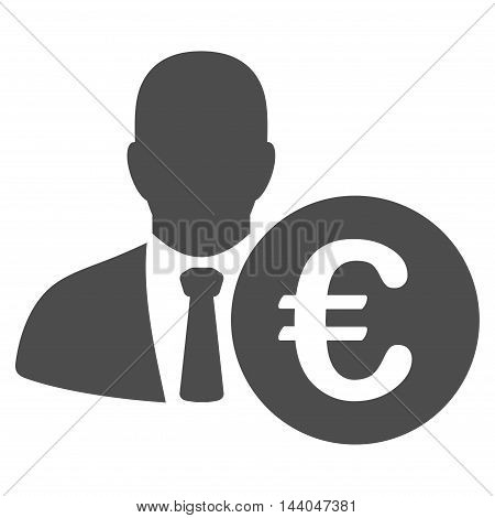 Euro Banker icon. Glyph style is flat iconic symbol, gray color, white background.