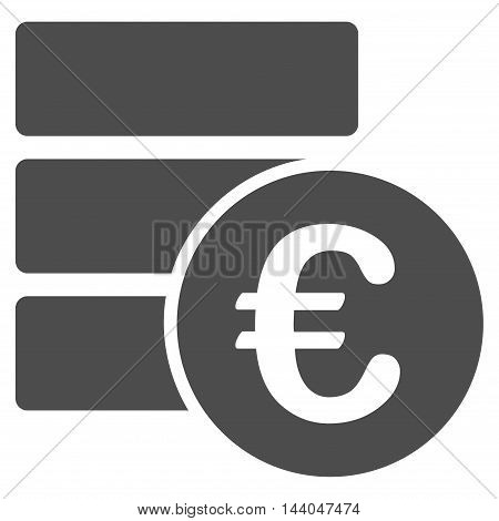 Euro Database icon. Glyph style is flat iconic symbol, gray color, white background.