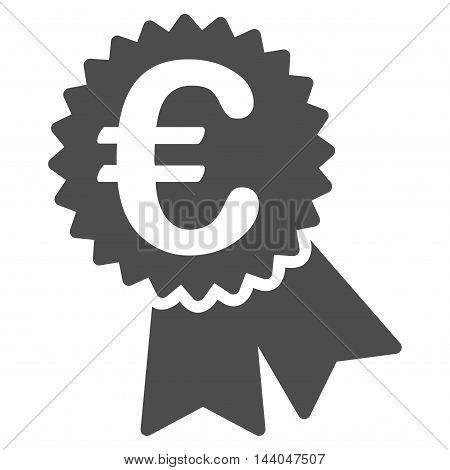 Euro Featured Price Tag icon. Glyph style is flat iconic symbol, gray color, white background.