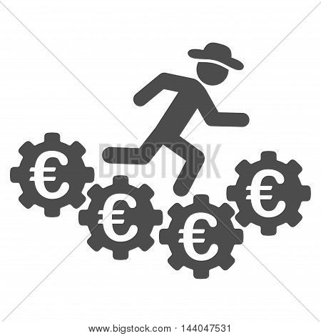 Euro Gears Runner icon. Glyph style is flat iconic symbol, gray color, white background.