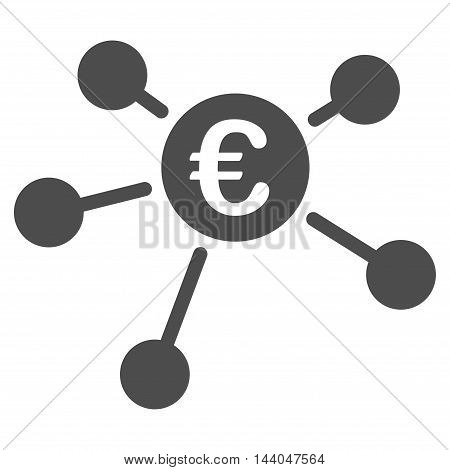 Euro Links icon. Glyph style is flat iconic symbol, gray color, white background.