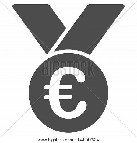 Euro Prize Medal icon. Glyph style is flat iconic symbol, gray color, white background.