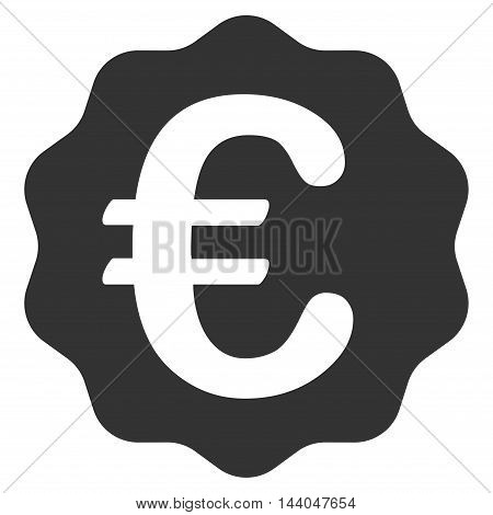 Euro Reward Seal icon. Glyph style is flat iconic symbol, gray color, white background.