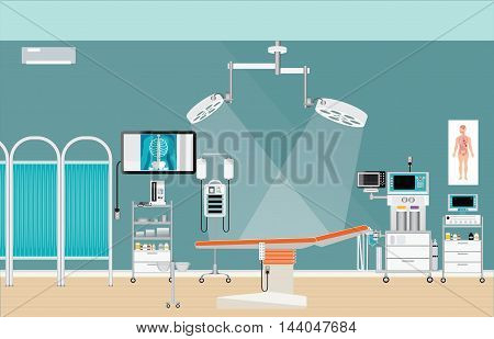 Medical hospital surgery operation room interior at the hospital medical health care characters vector illustration.