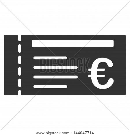Euro Ticket icon. Glyph style is flat iconic symbol, gray color, white background.
