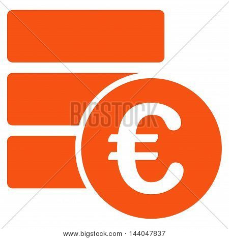 Euro Database icon. Glyph style is flat iconic symbol, orange color, white background.