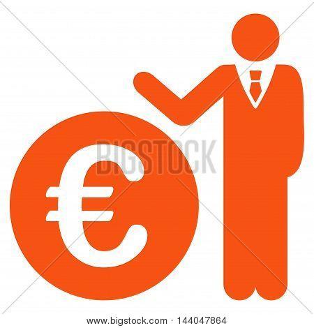 Euro Economist icon. Glyph style is flat iconic symbol, orange color, white background.