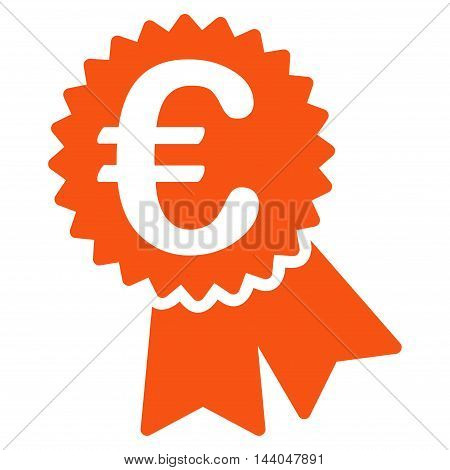 Euro Featured Price Tag icon. Glyph style is flat iconic symbol, orange color, white background.