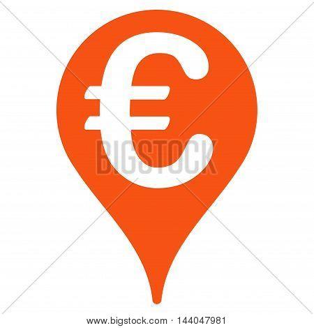 Euro Map Pointer icon. Glyph style is flat iconic symbol, orange color, white background.