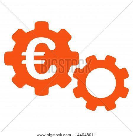Euro Mechanics icon. Glyph style is flat iconic symbol, orange color, white background.