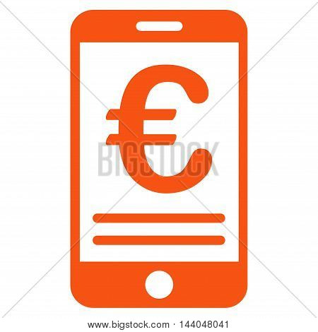 Euro Mobile Banking icon. Glyph style is flat iconic symbol, orange color, white background.