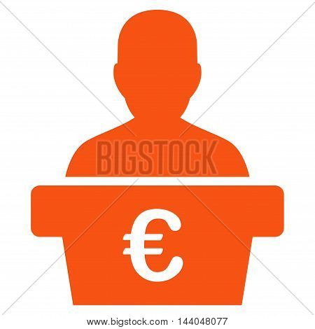 Euro Politician icon. Glyph style is flat iconic symbol, orange color, white background.