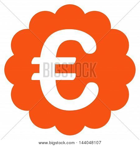 Euro Quality Seal icon. Glyph style is flat iconic symbol, orange color, white background.
