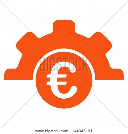 Euro Technology icon. Glyph style is flat iconic symbol, orange color, white background.
