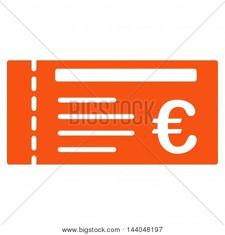 Euro Ticket icon. Glyph style is flat iconic symbol, orange color, white background.