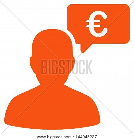 Euro User Opinion icon. Glyph style is flat iconic symbol, orange color, white background.