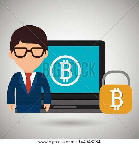 man laptop bitcoin online vector illustration eps 10
