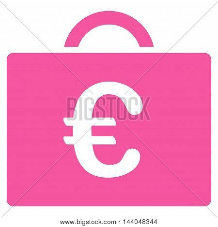 Euro Bookkeeping Case icon. Glyph style is flat iconic symbol, pink color, white background.